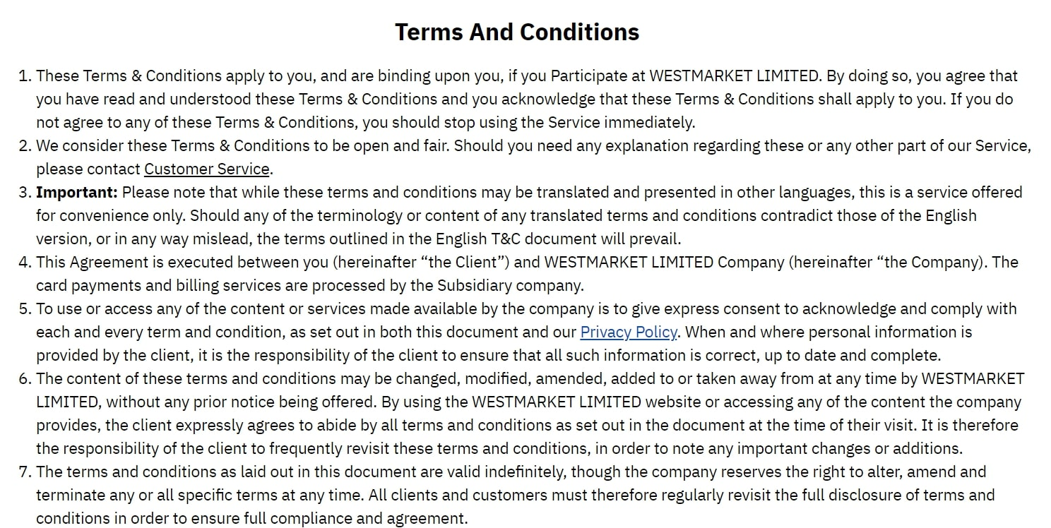 Westmarket Limited: отзывы и условия сотрудничества