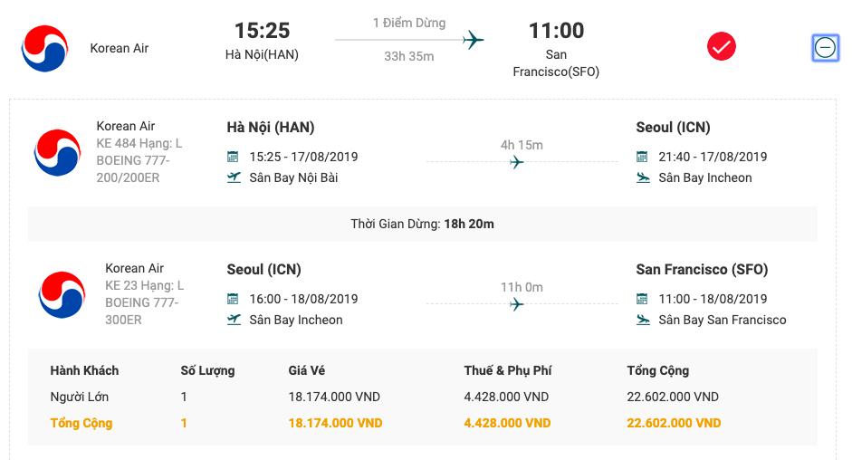 Vé máy bay từ Hà Nội đi San Francisco của Korean Air