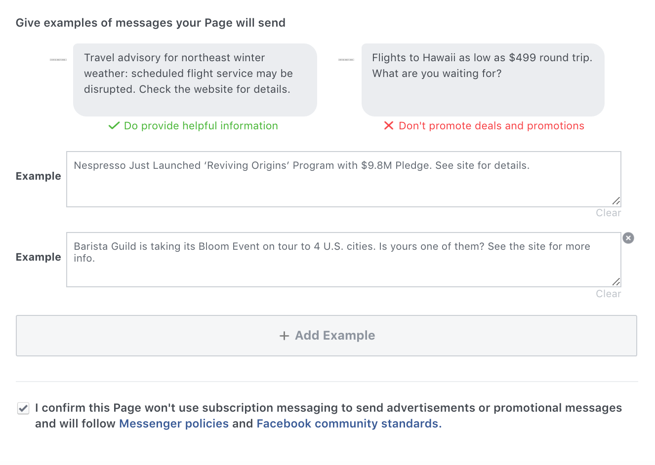 Examples of messages your Page will send for Facebook Subscription Messaging approval.