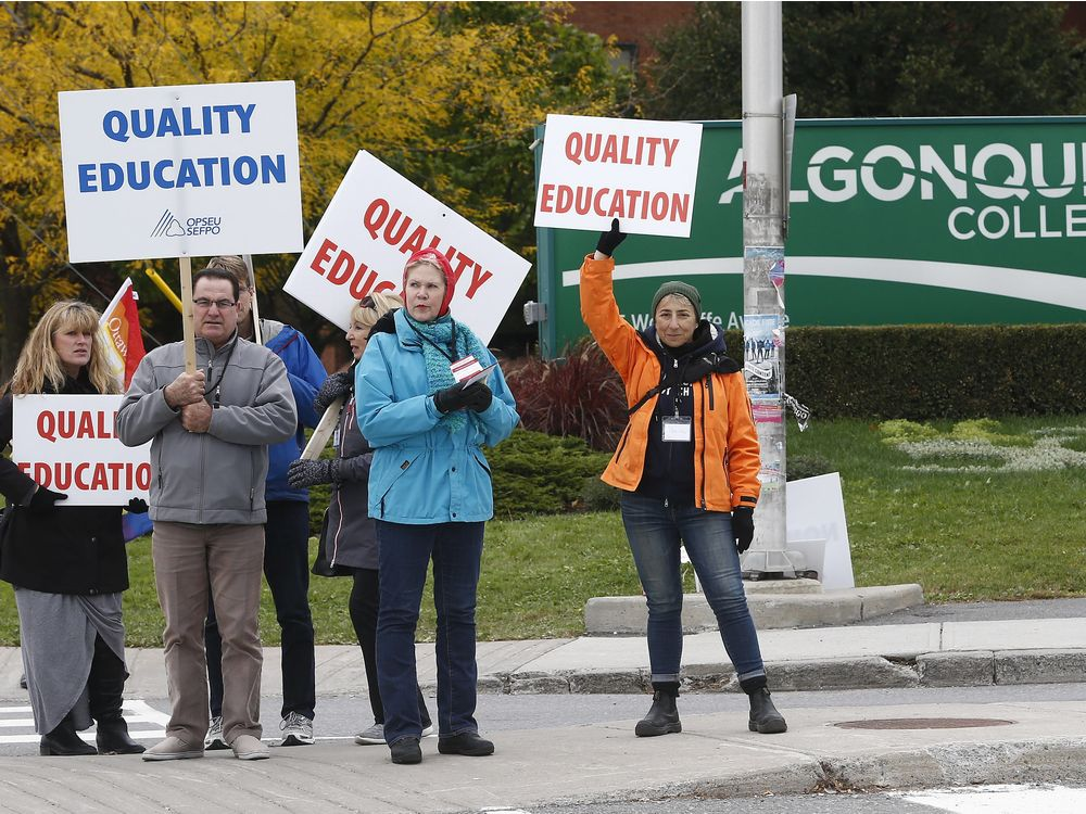 Picket lines are up at Algonquin College as faculty at Ontario's 24 colleges began a strike.