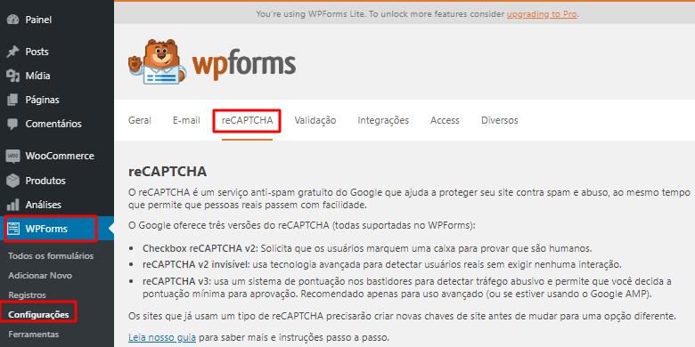 configurações do plugin WPForms no WordPress