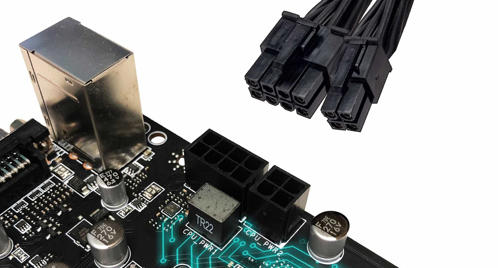 the connectors of the motherboard