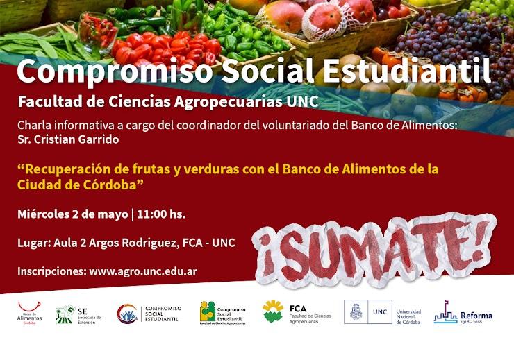 Compromiso Social Estudiantil: Recuperación de frutas y verduras con el Banco de Alimentos de la Ciudad de Córdoba