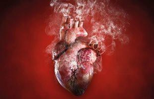 A human heart with smoke rising from veins.