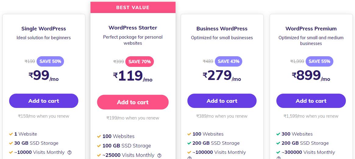hostinger wordpress hosting pricing in india