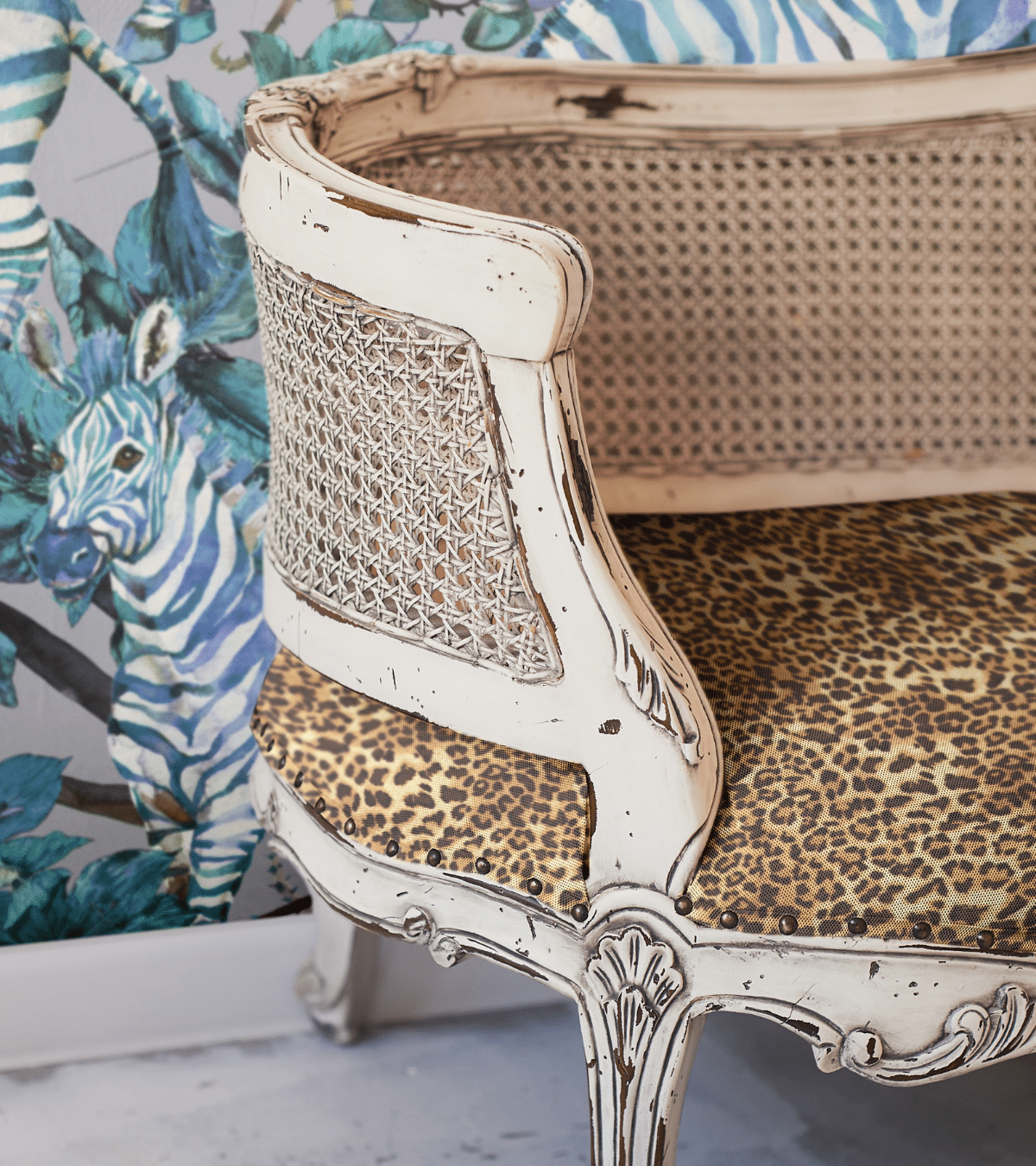 This Peel and Stick Zebra Wallpaper is Perfect for any Nursery. A modern, eclectic nursery evokes zebra print wallpaper paired with leopard print fabric.