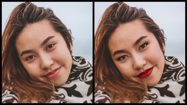 Antes e depois da foto de uma mulher aisática onde uma das fotos está com a maquiagem Glitz do AirBrush