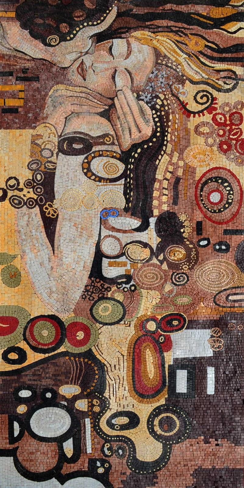 """The Kiss"" by Gustav Klimt Mosaic Reproduction"