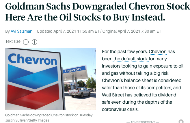 Goldman Sachs Downgraded Chevron Stock