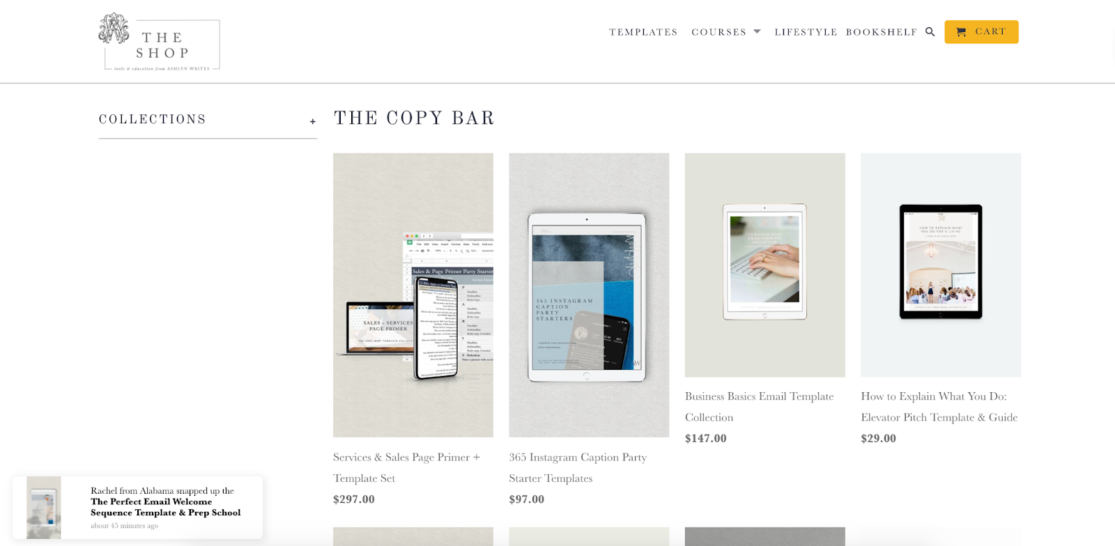Ashlyn Writes Shop with social proof pop-up at the bottom