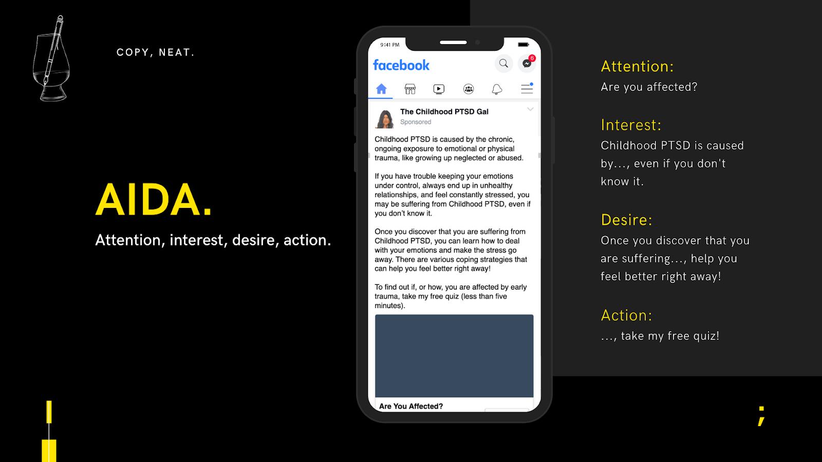 AIDA copywriting framework example by copyneat