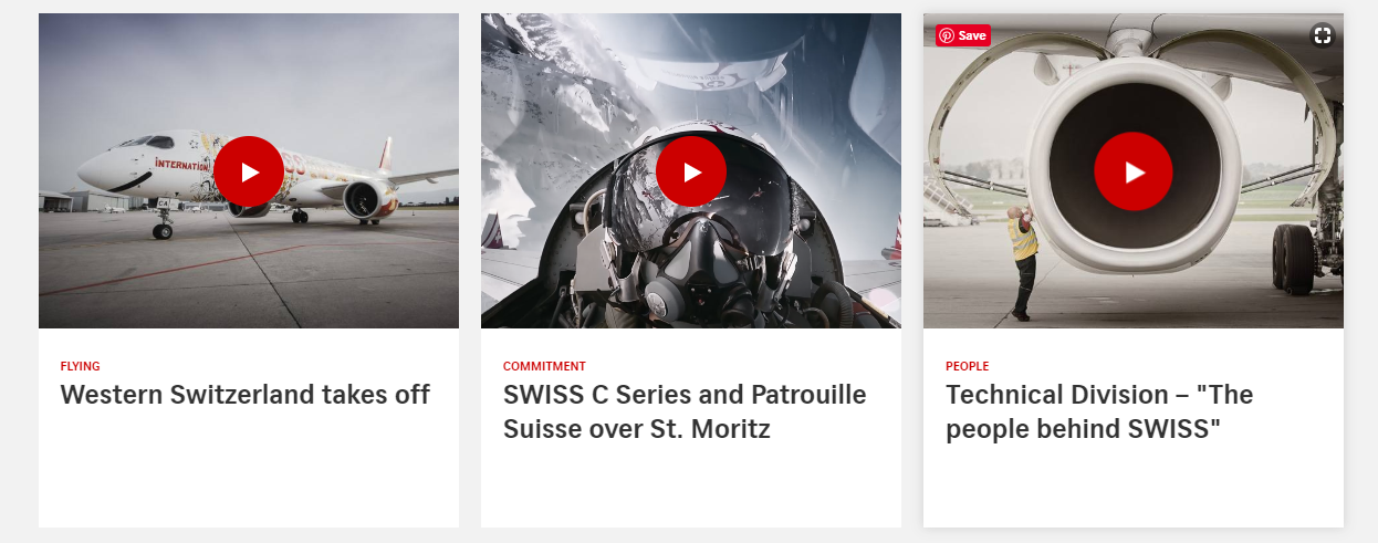Swiss Airlines blog layout