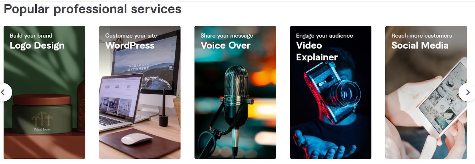 Fiverr's popular professional services.