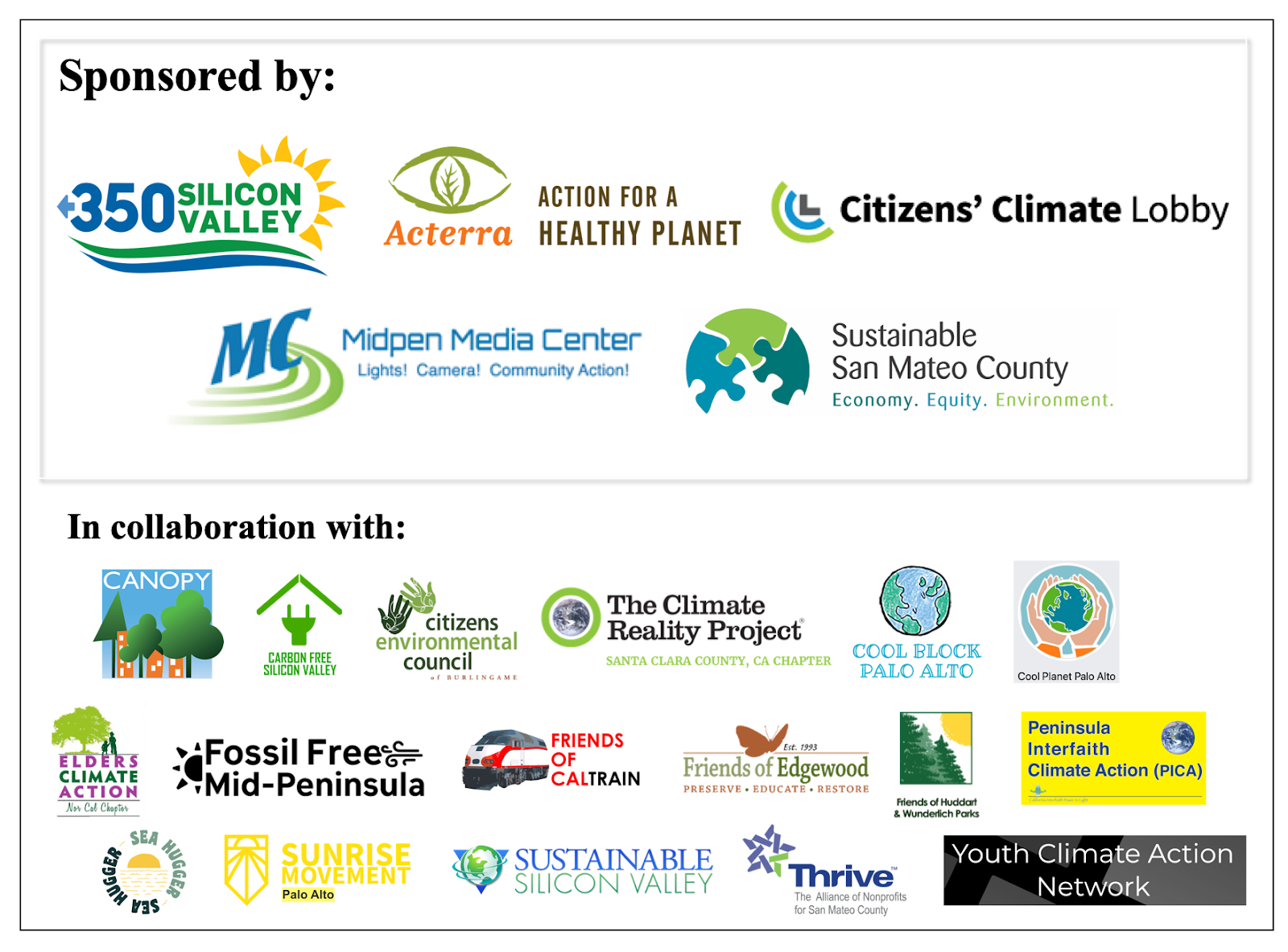Sponsors and Participating Organizations