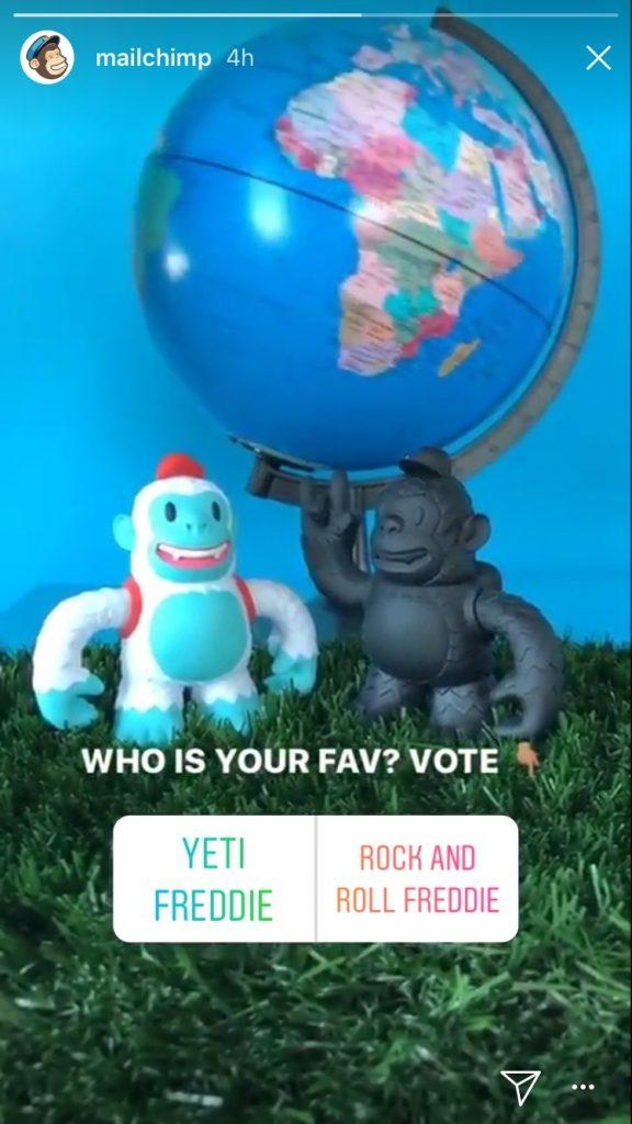 "Photo of two monkey figurines. Text reads: ""Who is your fav? Vote"" Two buttons read: ""Yeti Freddie"" and ""Rock and Roll Freddie"""