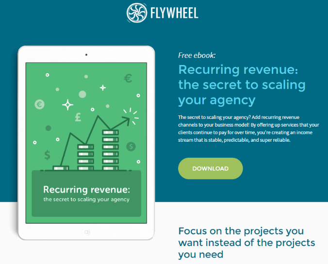 Flywheel collects prospect information using awesome downloadable content