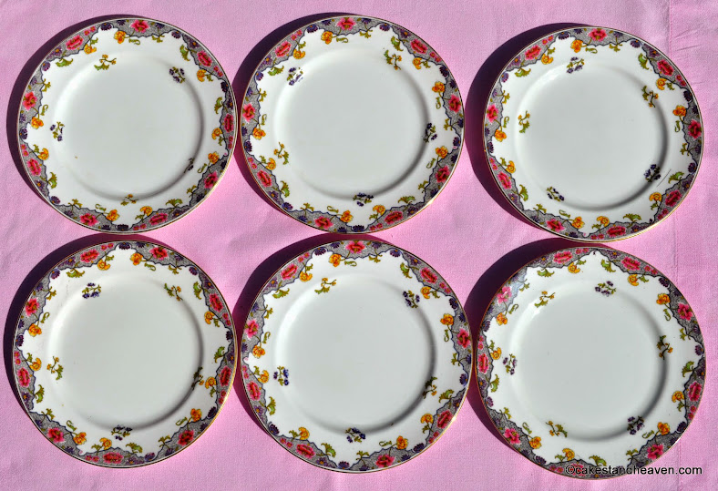 six antique Aynsley tea plates with art nouveau flowers