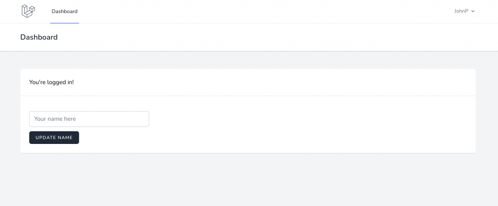 Form allowing the logged in user to update their name