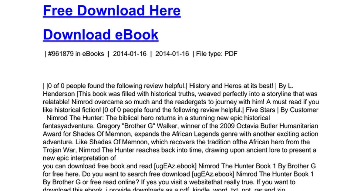 Nimrod the hunter book 1c google docs fandeluxe Images