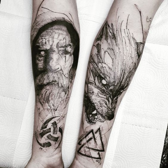 Odin & Fenrir Tattoo
