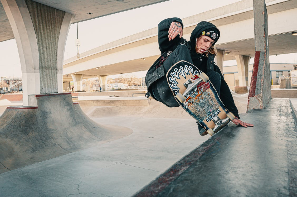 A skateboarder in action