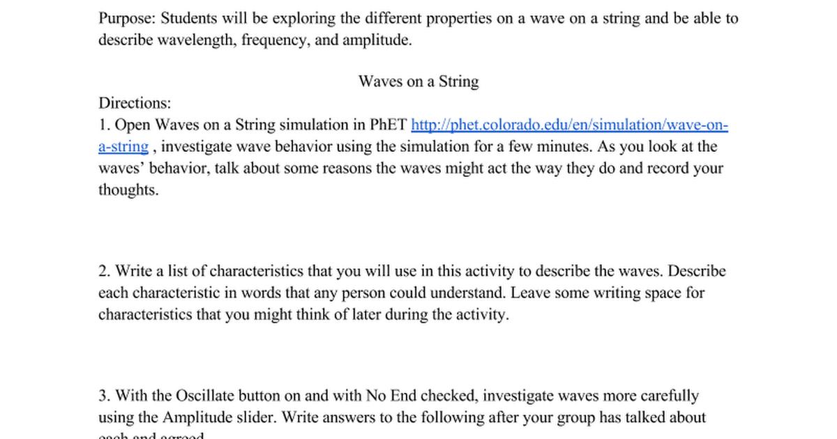waves on a string google docs. Black Bedroom Furniture Sets. Home Design Ideas