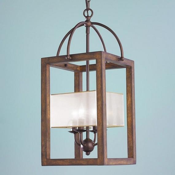 Деревянный светильник с коваными вставками
