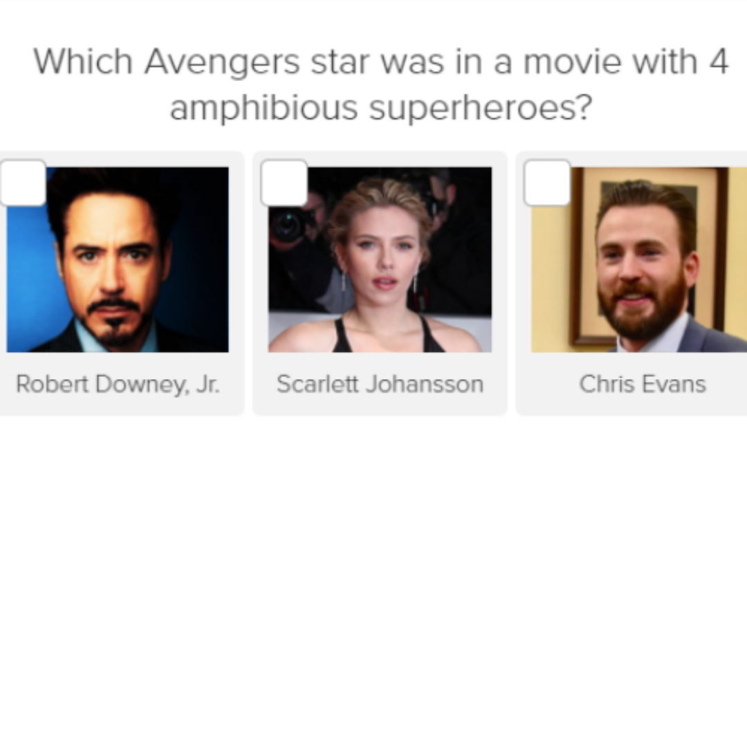 Which Avengers star was in a movie with 4 amphibious superheroes with images of celebrities for quiz