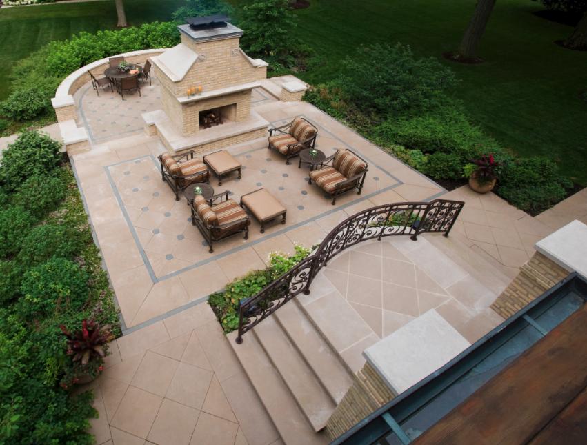 Indiana Limestone patio