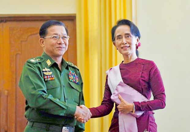 Image result for suu kyi and general min aung hlaing