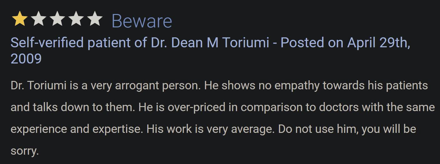 Dr. Dean Toriumi review