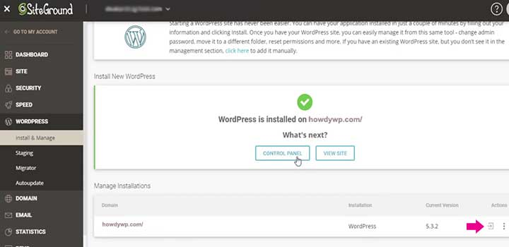 How install WordPress on Siteground hosting success