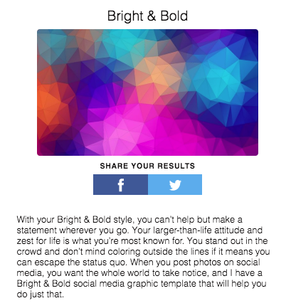 bright and bold quiz results with social media sharing  buttons