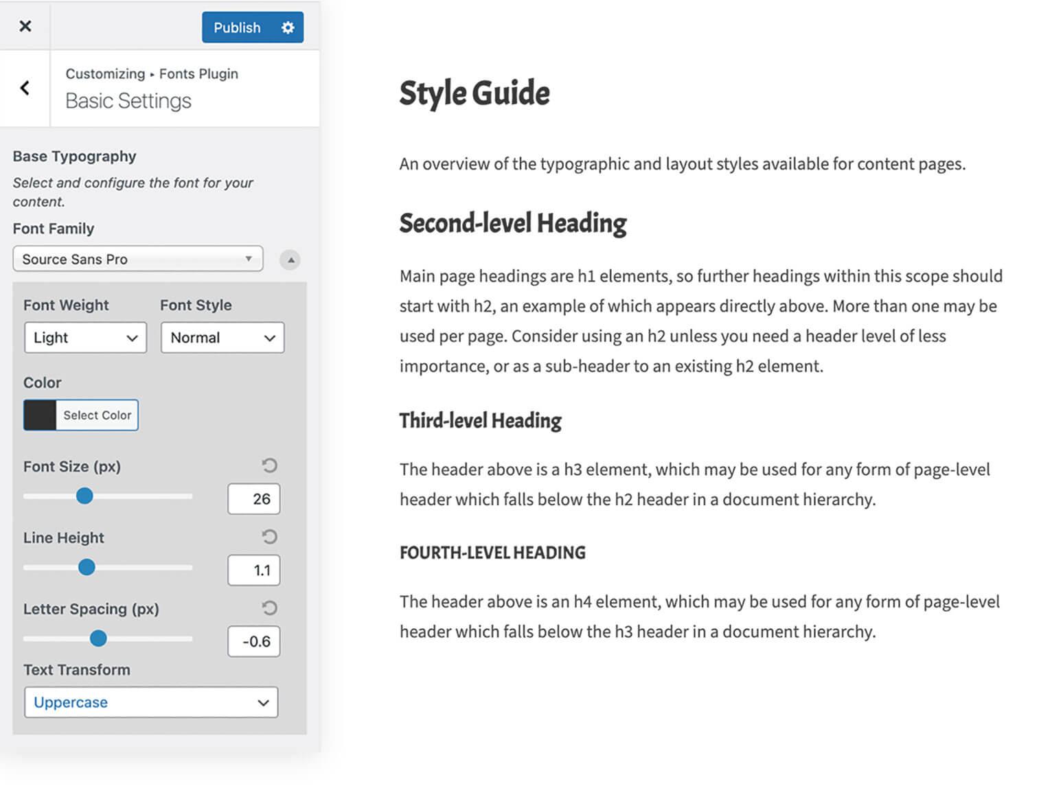 Fonts plugin to change fonts in WordPress