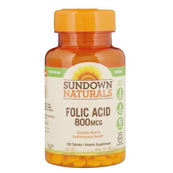 5. Sundown Naturals Naturals Folic Acid 800 mcg