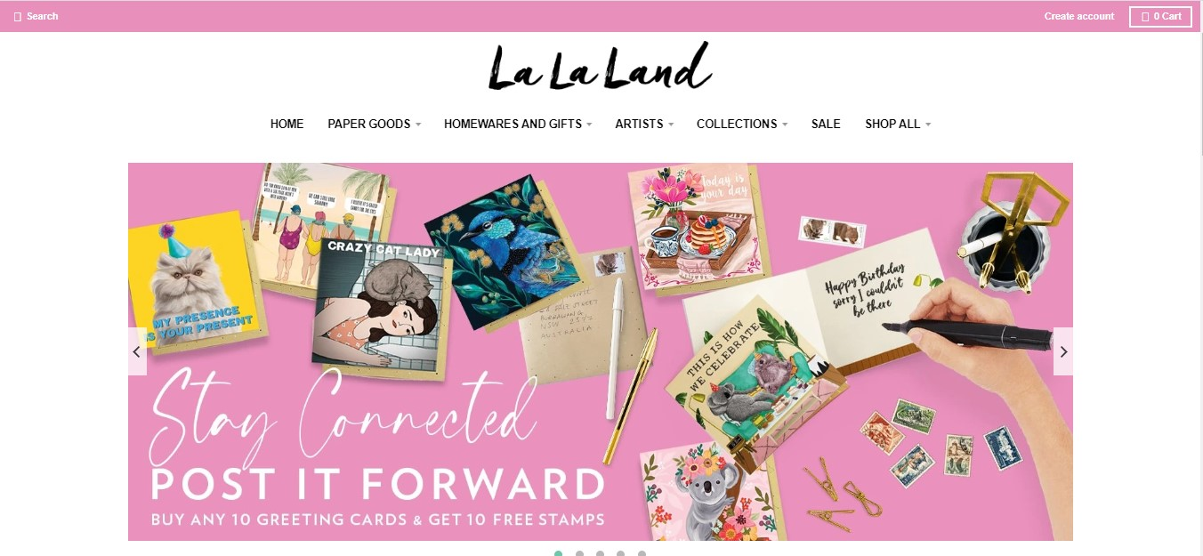 La La Land's landing page - greeting cards on a pink background