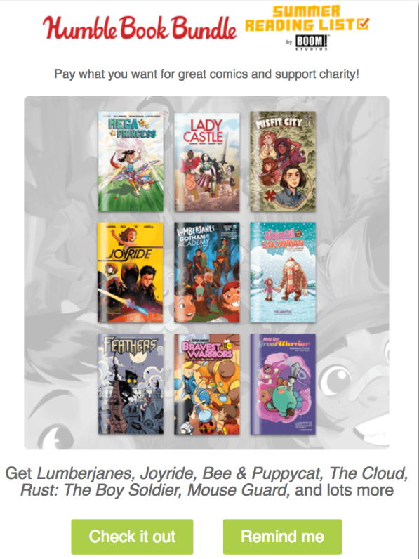 Example of a personalized promotional email from Humble Book Bundle
