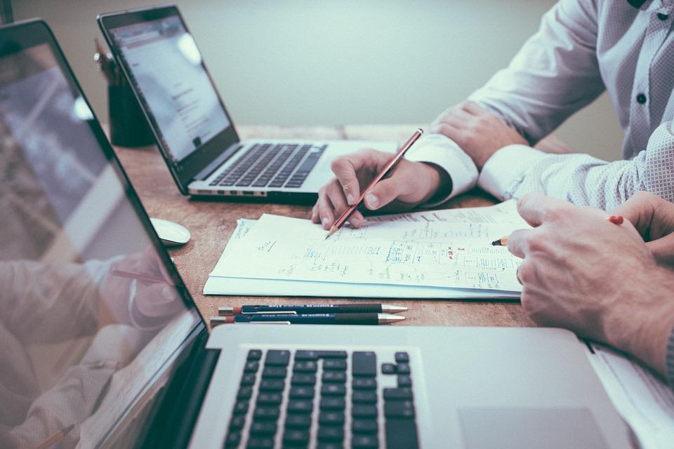 Escritório, Negócios, Colegas, Reunião, Computadores