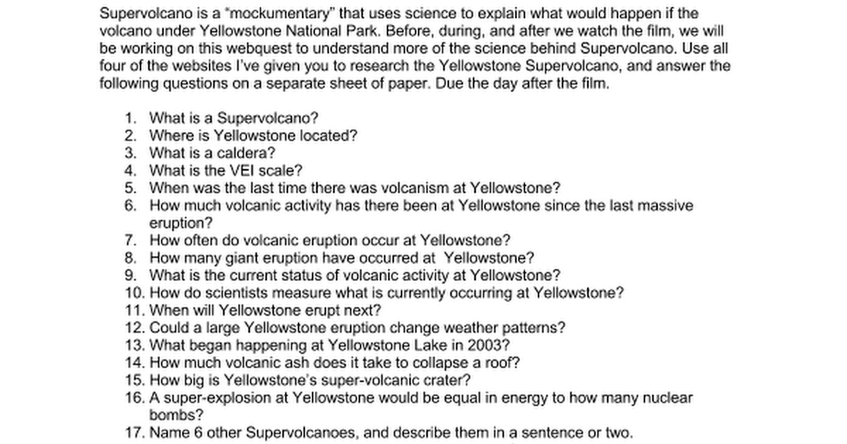 Supervolcano webquest google docs publicscrutiny Image collections