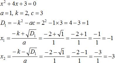 поиск корней уравнения x<sup>2</sup> + 4x + 3 = 0