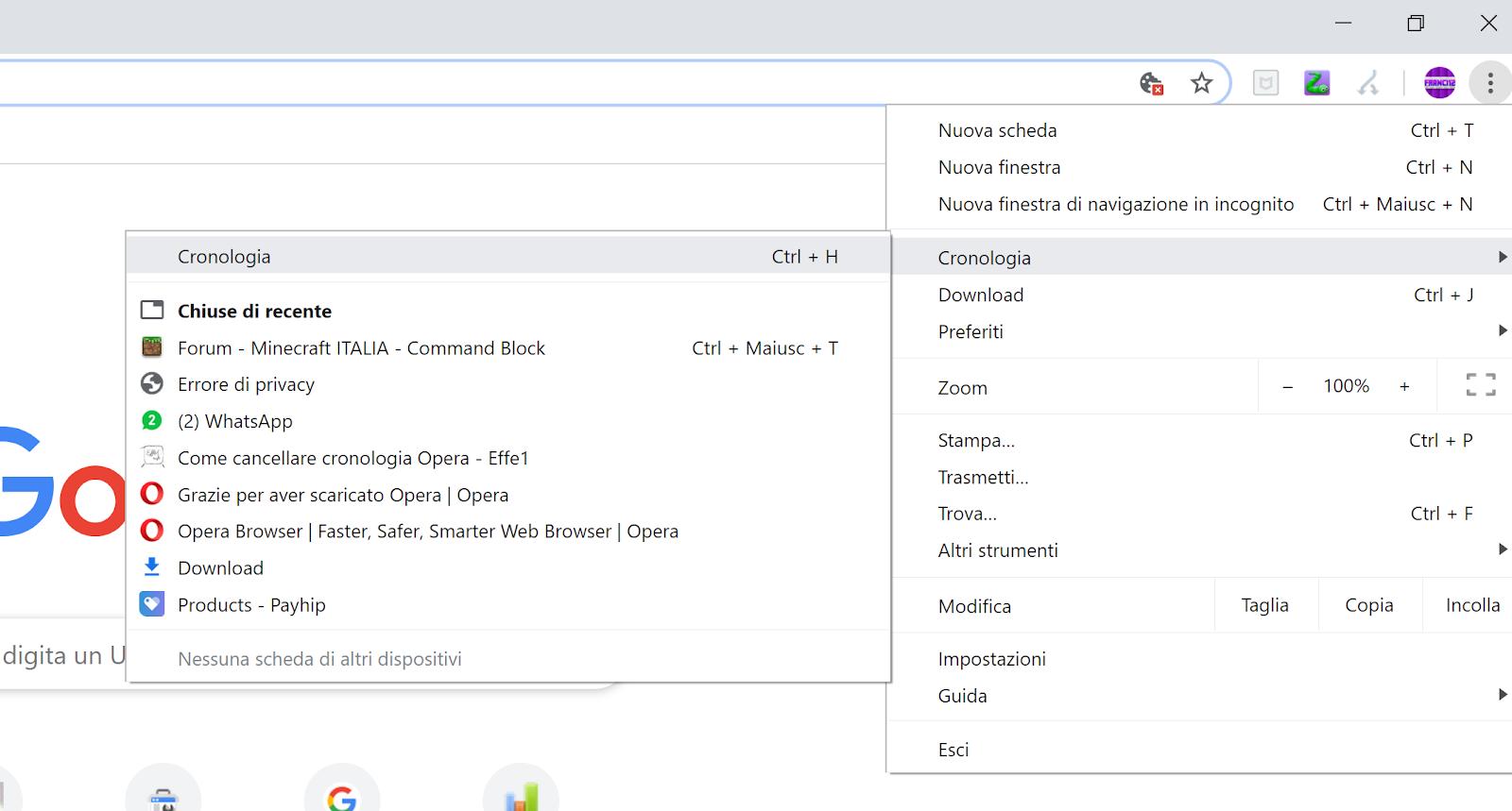 """Immagine: Cliccando sui 3 pallini, come detto nel paragrafo precedente di: """"Come Cancellare La Cronologia Di Chrome"""", si aprirà un menu dal quale selezionerai Cronologia e dopo Cronologia."""