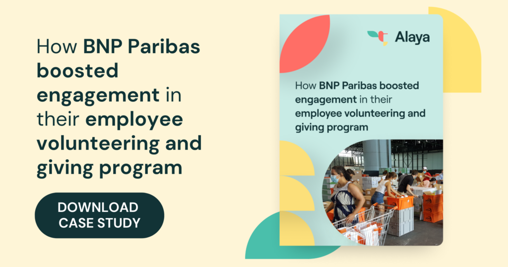 Image displaying how BNP Paribus boosted engagement on volunteering initiatives with Alaya.