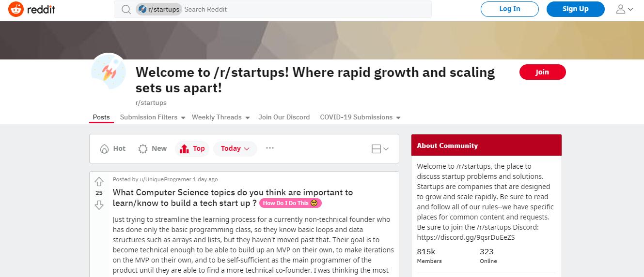 #1. Reddit r/startups