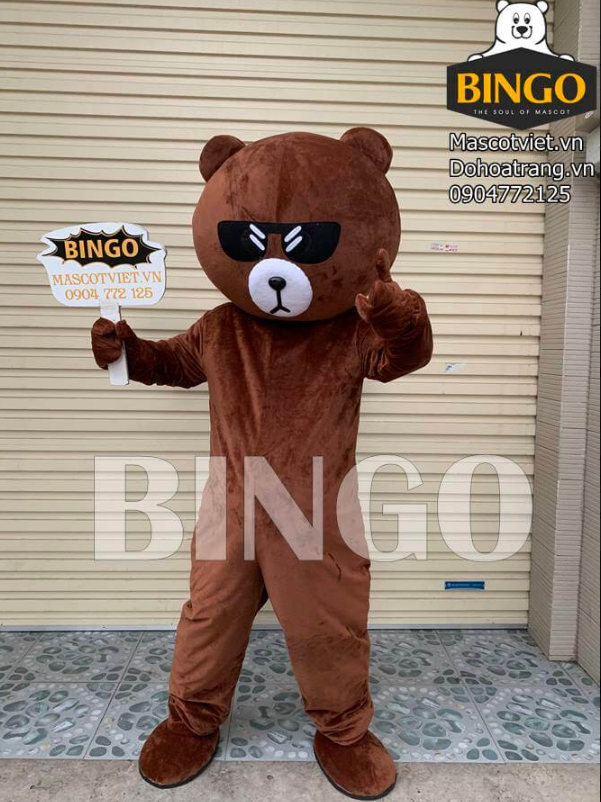 Mascot gấu Brown đeo kính xin chào