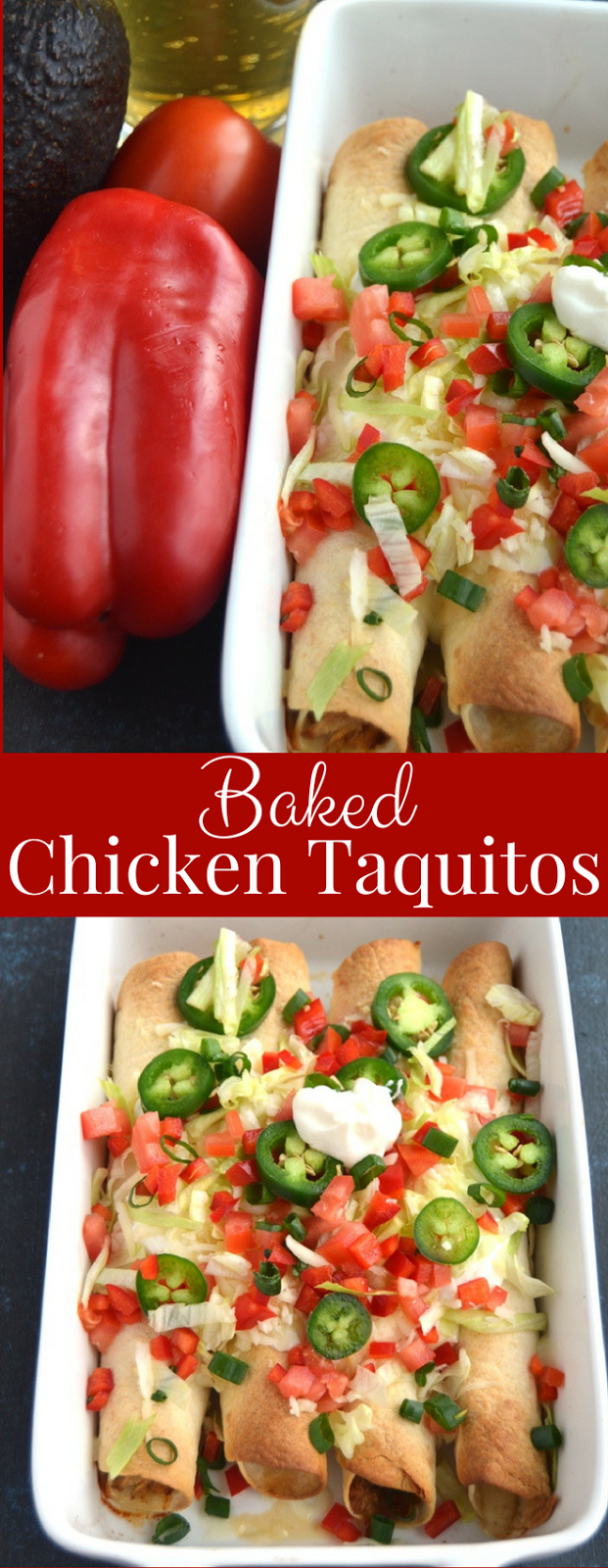 Baked Chicken Taquitos are filled with shredded chipotle chicken and melted cheese and are perfectly crispy. Topped with tomatoes, jalapeno, lettuce, sour cream, cheese and green onion for a delicious appetizer or meal! www.nutritionistreviews.com
