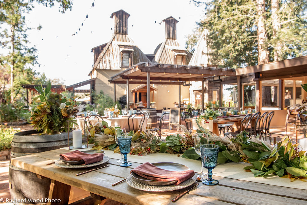 dinner table at rustic wedding venue