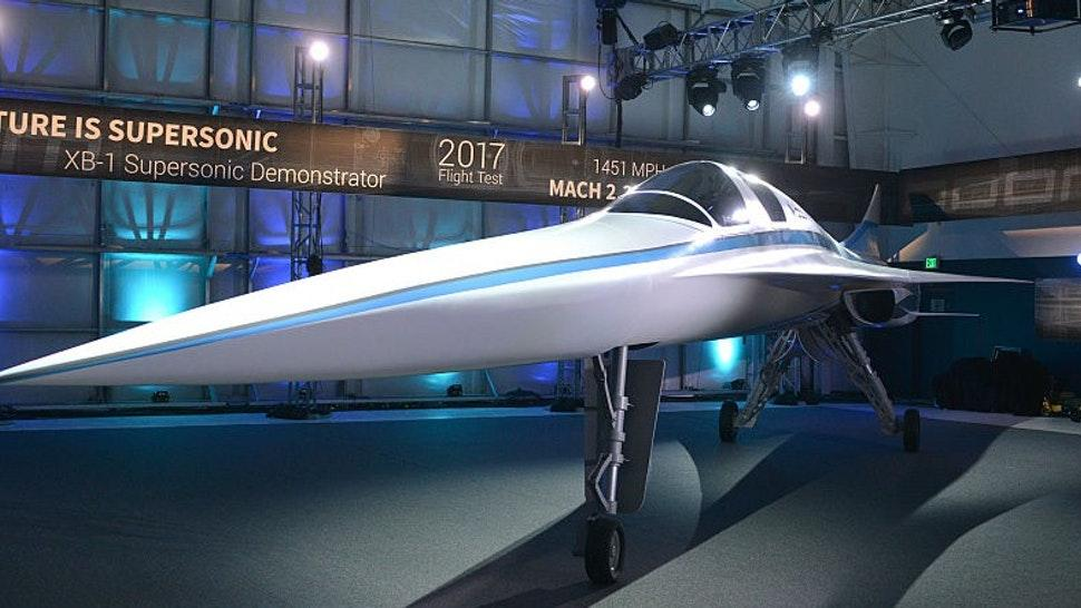 ENGLEWOOD, CO - NOVEMBER 15: A view of the XB-1 Supersonic Demonstrator at the official unveiling at the Boom Technologies hanger on November 15, 2016 in Englewood, Colorado. (Photo by