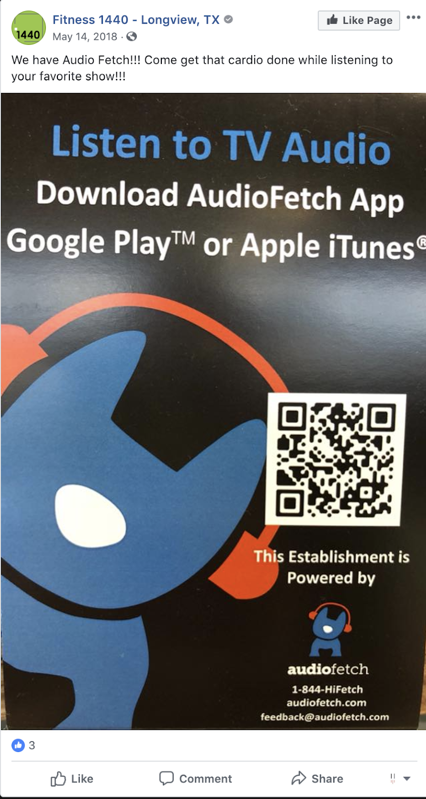 Fitness 1440 in Longview, TX alerts their customers to availability of AudioFetch at their gym.
