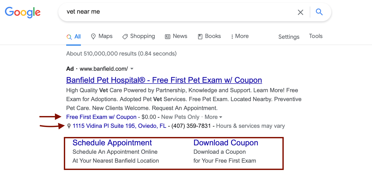 Google ad with different extensions highlighted