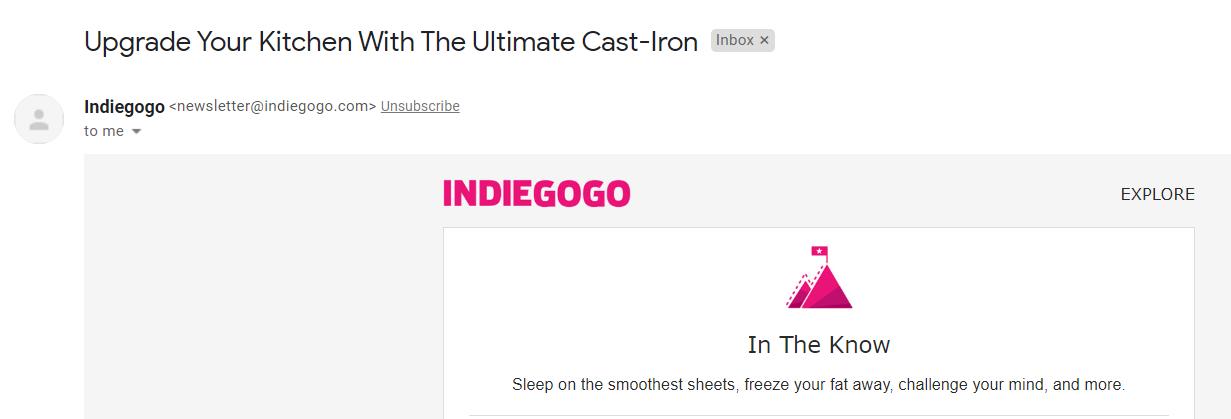 Indiegogo email example